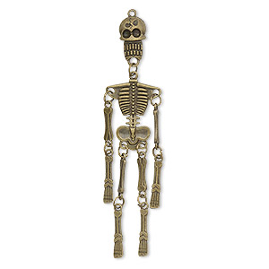 "Focal, Antique Brass-plated ""pewter"" (zinc-based Alloy), 3-3/4 X 7/8 Inch 3D Skeleton. Sold Individually"