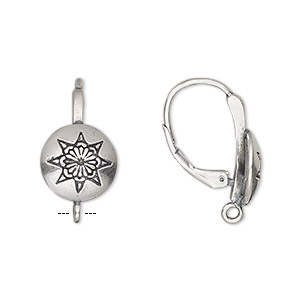 Earwire, Antiqued Sterling Silver, 22mm Leverback 11mm Round Star Design Closed Loop. Sold Per Pair
