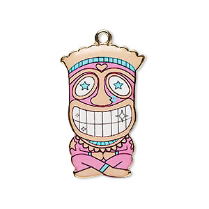"Focal, Resin Gold-finished ""pewter"" (zinc-based Alloy), Multicolored, 31x19.5mm Single-sided Tiki. Sold Individually"