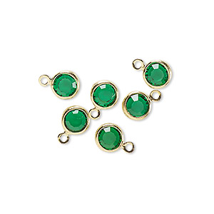 Drop, Glass Rhinestone Gold-finished Brass, Emerald Green, 6-6.5mm Faceted Round. Sold Per Pkg 6