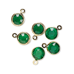 Drop, Glass Rhinestone Gold-finished Brass, Emerald Green, 8-9mm Faceted Round. Sold Per Pkg 6