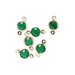 Link, Glass Rhinestone Gold-finished Brass, Emerald Green, 6-6.5mm Faceted Round. Sold Per Pkg 6