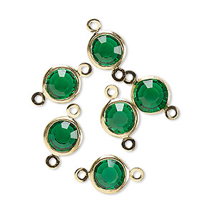 Link, Glass Rhinestone Gold-finished Brass, Emerald Green, 8-9mm Faceted Round. Sold Per Pkg 6