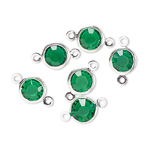 Link, Glass Rhinestone Silver-finished Brass, Emerald Green, 8-9mm Faceted Round. Sold Per Pkg 6