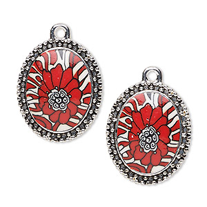 "Focal, Glazed Polymer Clay Silver-finished ""pewter"" (zinc-based Alloy), Red / White / Black, 42x37mm Single-sided Oval Flower Design Beaded Edge. Sold Individually"