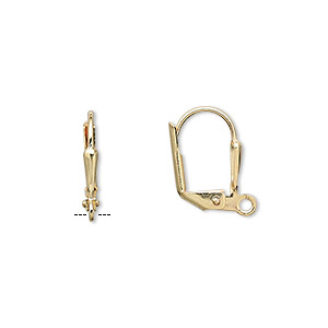 Earwire, Gold-plated Brass, 16mm Leverback 7x2mm Shield Open Loop. Sold Per Pkg 5 Pairs