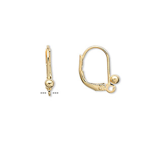 Earwire, Gold-plated Brass, 16mm Leverback 3mm Ball Closed Loop. Sold Per Pkg 5 Pairs