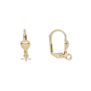 Earwire, Gold-plated Brass, 16mm Leverback 5x5mm Heart Open Loop. Sold Per Pkg 5 Pairs