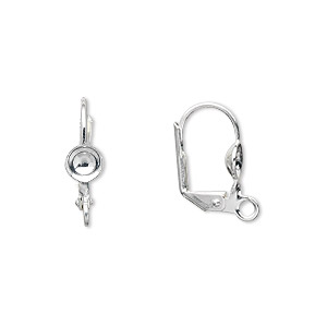Earwire, Silver-plated Brass, 17mm Leverback 5mm Cup Open Loop, Fits 5-7mm Bead. Sold Per Pkg 5 Pairs