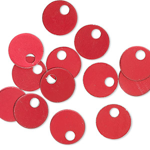 Drop, Anodized Aluminum, Red, 9mm Double-sided Flat Round Blank 2mm Hole, 20 Gauge. Sold Per Pkg 20