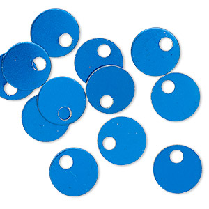 Drop, Anodized Aluminum, Blue, 9mm Double-sided Flat Round Blank 2mm Hole, 20 Gauge. Sold Per Pkg 20