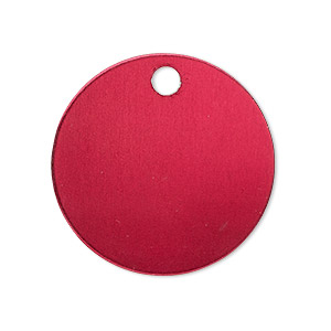 Drop, Anodized Aluminum, Red, 25.5mm Double-sided Flat Round Blank 3mm Hole, 20 Gauge. Sold Per Pkg 10