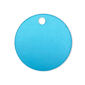 Drop, Anodized Aluminum, Light Blue, 25.5mm Double-sided Flat Round Blank 3mm Hole, 20 Gauge. Sold Per Pkg 10