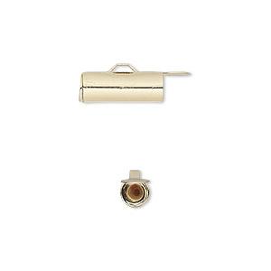 End Bar, Gold-finished Brass, 14x5mm Round Tube Fold-in Ends, 4mm Inside Diameter. Sold Per Pkg 10