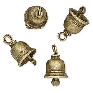 4 Antiqued Brass Plated Pewter 16.5x12mm Textured Bell Drop Charms