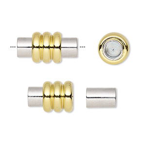 Clasp, Magnetic, Gold- Silver-finished Brass, 18x9mm Ribbed Barrel Glue-in Ends, 4.5mm Inside Diameter. Sold Individually