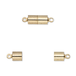 Clasp, Magnetic, Gold-finished Brass, 11.5x5.5mm Barrel. Sold Individually
