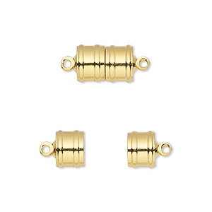 Clasp, Magnetic, Gold-finished Brass, 11.5x8mm Ribbed Barrel. Sold Individually