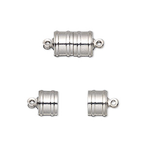 Clasp, Magnetic, Silver-finished Brass, 11.5x8mm Ribbed Barrel. Sold Individually