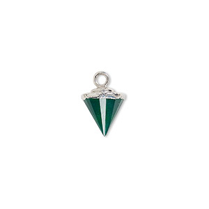 Drop, Green Onyx (dyed) / Electroplated Silver / Silver-plated Sterling Silver, 9x8mm-11x8mm Hand-cut Faceted Cone. Sold Individually