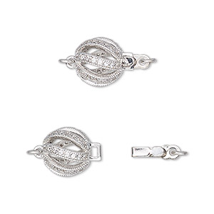 Box (Tab) Clasp Rhodium-plated Silver Colored