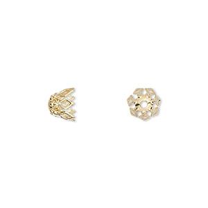 Bead Cap, Gold-plated Brass, 7x5mm Fancy Basket Diamond Cutouts, Fits 7-10mm Bead. Sold Per Pkg 50