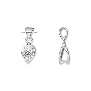 Bail, Ice-pick, Sterling Silver, 9x7mm Leaf 4.5mm Grip Length. Sold Individually