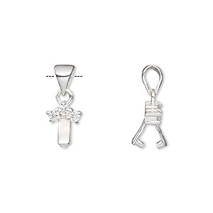 Bail, Ice-pick, Sterling Silver Cubic Zirconia, Clear, 9.5x7mm 3.5mm Grip Length. Sold Individually