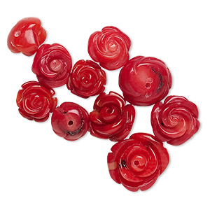 Bead Mix, Bamboo Coral (dyed), Light Dark Red, 8x6mm-14x6mm Half-drilled Carved Flower, B Grade, Mohs Hardness 3-1/2 4. Sold Per Pkg 10
