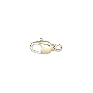 Clasp, Lobster Claw, Gold-plated Brass Steel, 11.5x6mm Swivel. Sold Per Pkg 10