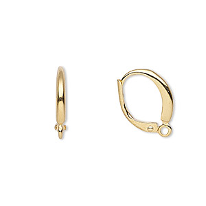 Earwire, Gold-plated Brass, 16mm Leverback Closed Loop. Sold Per Pkg 5 Pairs