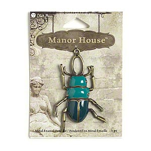 "Focal, Blue Moon Beads®, Enamel Antiqued Brass-finished ""pewter"" (zinc-based Alloy), Light Teal Dark Teal, 60x39mm Beetle. Sold Individually"