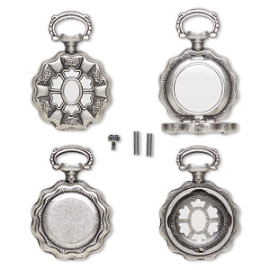 "Watch Body, Acrylic Antique Silver-finished ""pewter"" (zinc-based Alloy), Transparent Clear, 41x27mm 27mm Round Flower Design. Sold Per 5-piece Set"