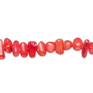 Bead, Bamboo Coral (dyed), Red, 6x3mm-10x4mm Stick. Sold Per 15-inch Strand