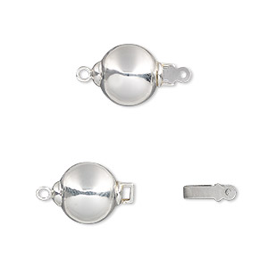 Clasp, Tab, Sterling Silver Stainless Steel, 10mm Ball. Sold Individually