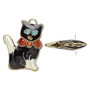 Charm, Enamel Gold-finished Copper, Multicolored, 26x21mm Double-sided Cat Ribbon. Sold Per Pkg 4