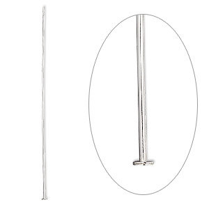 Headpin, Sterling Silver, 2-1/2 Inches, 20 Gauge. Sold Per Pkg 10