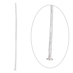 Headpin, Sterling Silver, 2-1/2 Inches, 22 Gauge. Sold Per Pkg 100