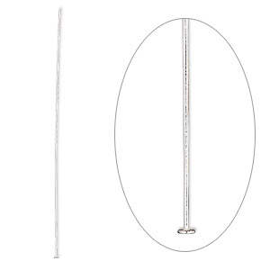 Headpin, Sterling Silver, 2-1/2 Inches, 24 Gauge. Sold Per Pkg 100