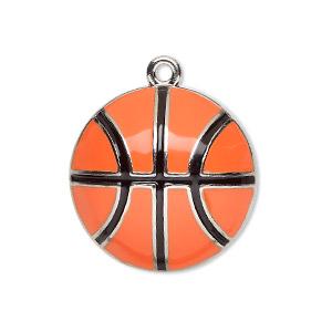 "Charm, Enamel Silver-finished ""pewter"" (zinc-based Alloy), Orange Black, 25mm Single-sided Domed Basketball. Sold Individually"