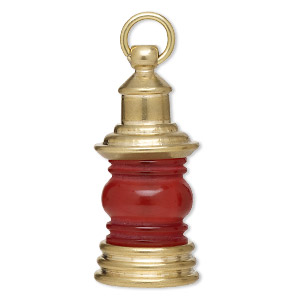 Focal, Brass / Glass / Steel, Red, 42x19mm 3D Lantern. Sold Individually