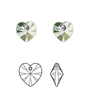 Swarovski 6228 Xilion Heart Pendant Heliotrope Pack of 4