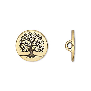 Button, TierraCast®, Antique Gold-plated Pewter (tin-based Alloy), 16mm Flat Round Tree Life Hidden Closed Loop. Sold Per Pkg 2 94-6562-26
