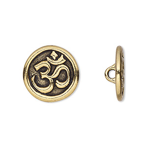 Button, TierraCast®, Antique Gold-plated Pewter (tin-based Alloy), 17mm Flat Round Om Symbol Hidden Closed Loop. Sold Per Pkg 2 94-6568-26