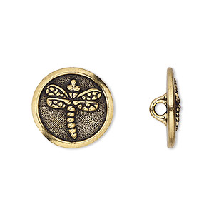 Button, TierraCast®, Antique Gold-plated Pewter (tin-based Alloy), 17mm Flat Round Dragonfly Hidden Closed Loop. Sold Per Pkg 2 94-6573-26