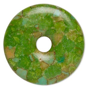"Focal, Mosaic ""turquoise"" (dyed / Assembled), Apple Green, 23mm Round Donut, C Grade, Mohs Hardness 3-1/2 4. Sold Individually"
