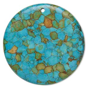 """Focal, Mosaic """"turquoise"""" (dyed / Assembled), Blue, 40mm Top-drilled Flat Round, C Grade, Mohs Hardness 3-1/2 4. Sold Individually"""