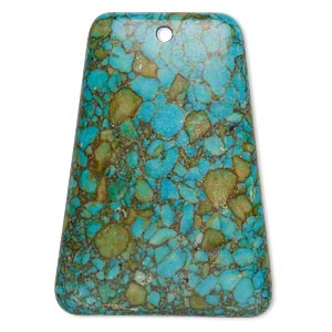 "Focal, Mosaic ""turquoise"" (dyed / Assembled), Blue, 40x29mm-40x30mm Top-drilled Trapezoid, C Grade, Mohs Hardness 3-1/2 4. Sold Individually"