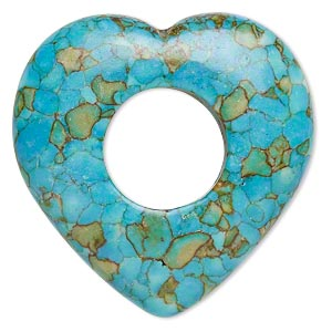 "Focal, Mosaic ""turquoise"" (dyed / Assembled), Blue, 40x40mm Open Heart, C Grade, Mohs Hardness 3-1/2 4. Sold Individually"