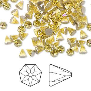 4dbbb7bfbc054 Flat back, Swarovski® crystal rhinestone, light topaz shimmer, foil ...